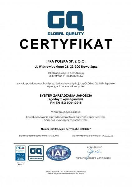 Certyfikat ISO 9001 IPRA POLSKA