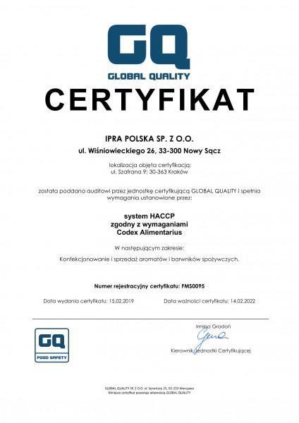 Certyfikat HACCP IPRA POLSKA